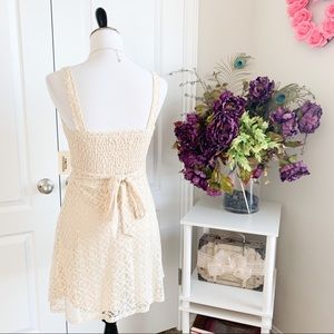 Forever 21 Dresses - Forever 21 Ivory Cream Crochet Tie Back Dress